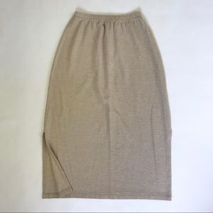 L.L. Bean Tan Cream Beige Stretch Linen Midi Skirt